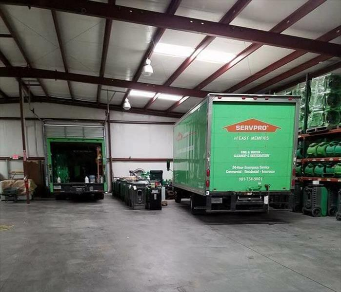 SERVPRO trucks getting ready to go out to a job